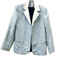 VTG Adolph Schuman for Lilli Ann Open Linen Blazer Lined Cream Blue Stripe S M