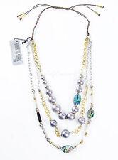 ROBERT LEE MORRIS Soho Abalone Mixed Bead 2-Tone Multi-Row Macrame Necklace $65