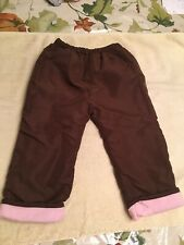 Toddler Size 24 Months Snow Pants Brown Pink Fleece Lined
