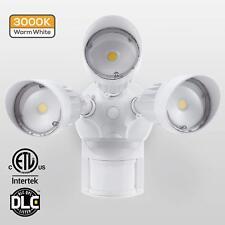 Motion Activated Security Light 3000K 3 Head White Led 30W Outdoor 120V Sensor