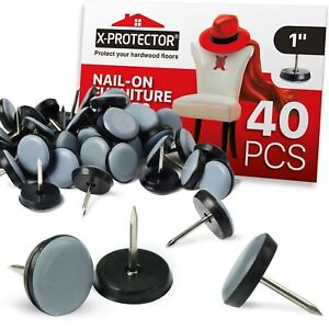 """Chair Glides X-PROTECTOR – Furniture Glides 40 pcs – Nail-On Furniture Pads 1"""""""