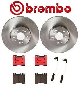 For Mercedes W140 S500 Front Disc Brake Rotors Ceramic Pads Sensors Kit Brembo
