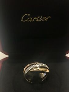 Stunning Ladies Cartier Trinity Ring Diamonds Size 54 Gold Rose gold White Gold