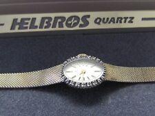 vtg Helbros Quartz Ladies Hamilton WRISTWATCH case 10 diamonds 14k? yellow 25135