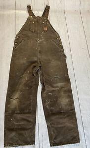 Carhartt men's Dark brown Duck Bib Overall Unlined R06 DKB distressed destroyed