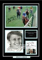 (ab96) willie carson signed a4 photograph (reprint) horse racing great gift ####