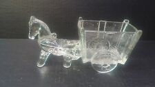 Glass Horse/Donkey pulling Wagon Candy dish Vintage 9 ines long x4.5 inch tall