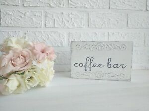 Small Coffee Sign Distressed White Coffee Bar Decoration Wooden Block Handmade