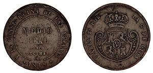 1/2 REAL (CINCO DÉCIMAS). Cu. ISABELLA II - ISABEL II. 1848. MADRID. VF / MBC.