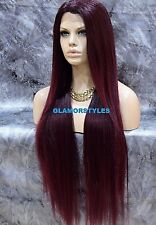 Human Hair Blend Hand Tied Monofilament Lace Front Full Wig Long Black Burgundy