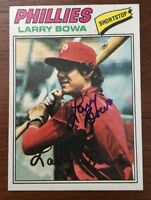 LARRY BOWA 1977 TOPPS AUTOGRAPHED SIGNED AUTO BASEBALL CARD 310 PHILLIES