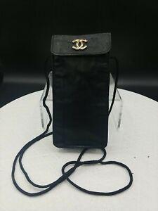 Vtg Designer Crossbody 100% Leather Black Sunglasses Bag Pouch Cellphone Holder