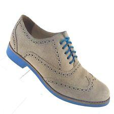 COLE HAAN Zerogrand Oxford Tan Blue Suede Wingtip Brogue Womens Shoe SIZE 6 B