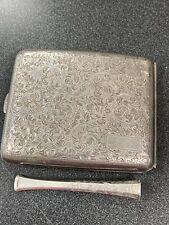 950 Silver Hand Engraved Cigarette Case With Cigarette Holder No Monogram