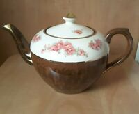 Vintage Arthur Wood Teapot #4378 England Marbled Brown and Cream Floral 1950's