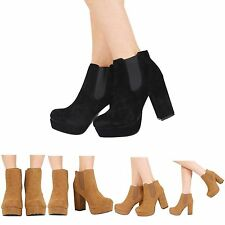 WOMENS HIGH HEEL LADIES PLATFORM SLIP ON CHELSEA ANKLE BOOTS SHOES SIZE 3-8
