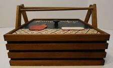 APPLE DESIGN WOOD PIE CAKE CASSEROLE CARRIER CASE SAFE BASKET WITH HANDLES
