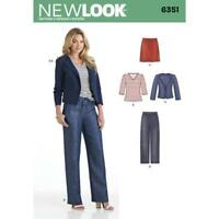 New Look Sewing Pattern 6351 Misses Jacket Pants Skirt Knit Top Size 10-22 UC