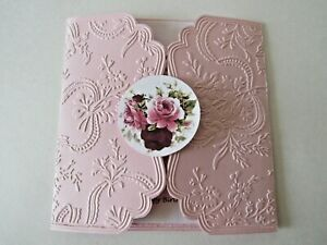 Birthday card, pink, scalloped edges, embossed, verse, roses closure