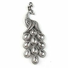 15x Hot Sale Charms Vintage Silvery Peacock Animal Zinc Alloy Pendants Finding J