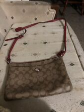 Khaki And Red Coach Purse