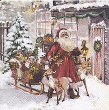 4 Servietten Santa Rentierschlitten Geschenke zur Bescherung vor der Haustür