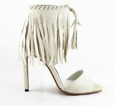White Party Sandals Covered Stiletto Heels Fringes Tassel Ankle Straps AU Size 9