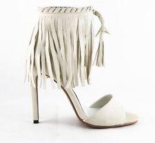 Women's Ivory White Suede Heel Sandals Stiletto Heel Fringes Tassel Ankle Straps