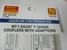 Micro-Trains Stock #00310012 Mt-7 Short 'T' Shank (1128) Couplers with Adapters