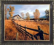 Old Wood Barn with Fence Fall Trees Scenery Wall Decor Mahogany Framed Picture