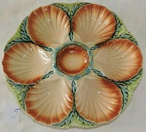 French Majolica oysters plate Sarreguemines shells /5