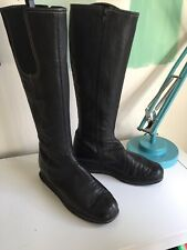 Lk Bennett Black Leather Knee High Boots Elastic Wedge Flats Size 40/7