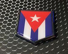 "Cuba Flag Domed CHROME Emblem Proud Flag Car 3D Sticker 2""x 2.25"""