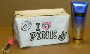 Victoria's Secret PINK Cosmetics Case in White w/ Secret Charm Lotion.