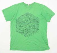 Anvil Mens Size L Cotton Graphic Green T-Shirt