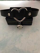 Punk Goth Bondage Black Bell Leather Heart Collar Choker Necklace UK SELLER