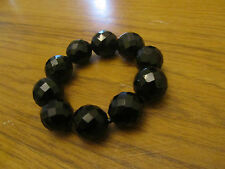 Black Faceted Ceramic Bead Elasticated Bracelet