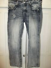 Rock Revival Matthew Designer Thick Stitch Distressed Denim Jeans Men 38 38 x 42