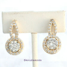 3.9 ct I SI2 round ideal cut diamond halo earrings 18k yellow gold 12mm diameter