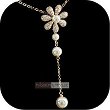 pendant necklace 18k rose gold made with SWAROVSKI crystal flower pearl