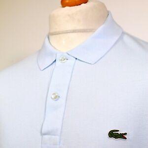 "Lacoste One-Colour Polo Shirt - 6/XL/44"" - Ice Blue - Mod Casuals Terraces 60's"