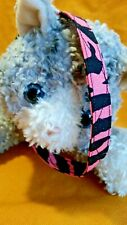 New listing Hot Pink Zebra Stripes Handmade Fabric Cat Collar, For The Wild Kitty