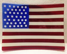 AMERICAN FLAG Sushi Shape FUSED GLASS DISH 8x12 Spectrum Glass System 96 July 4