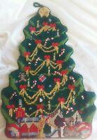 """16"""" Needlepoint Christmas Tree Finished Ornament Stocking Back Opening"""