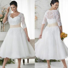 Hot Tea Length Lace Short Wedding Dress Bridal Gown Custom Plus Size 18 20 22 ++