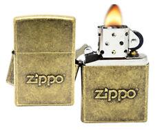 Zippo 28994 Stamped Logo Classic Antique Brass Finish Pocket Lighter New