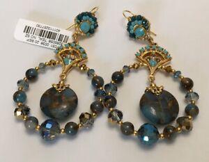 Jose & Maria Barrera Mosaic Crystal Beaded Hoop Drop Earrings NWT $410