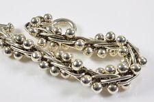 Silver chunky T-bar fastening bracelet oversized spiga links beaded bar detail