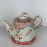 "Fitz & Floyd  ""Kittens of Knightsbridge"" Tablecloth Teapot  34 Oz 1989 Retired"
