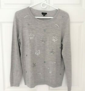 NWT TALBOTS M (8 10) EMBROIDERED & BEADED MERINO SWEATER CROWN MOTIF